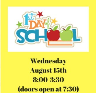1st day of school graphic with time and date of first day of school