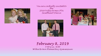 2019WBE PTA Sweetheart Dance graphic with photos and information