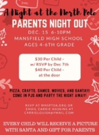 MHS Parents' Night Out image with information